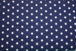 Baumwollstoff Marineweiße Sterne 1 cm