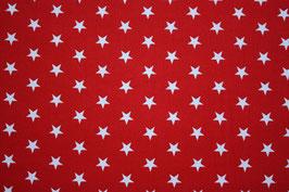 Baumwollstoff Kirschrot/weiße Sterne 1 cm