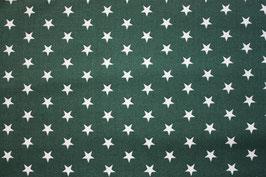 Baumwollstoff Tannengrün/weiße Sterne 1 cm