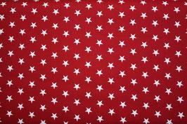 Baumwollstoff Weinrot/weiße Sterne 1 cm