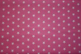 Baumwollstoff Rosa/weiße Sterne 1 cm