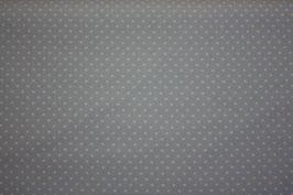 Baumwollstoff Hellgrau/Weiße Pünktchen 2 mm