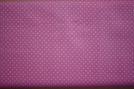 Baumwollstoff Pink/Weiße Pünktchen 2 mm