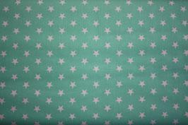 Baumwollstoff Türkis/weiße Sterne 1 cm