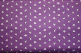 Baumwollstoff Flieder/weiße Sterne 1 cm