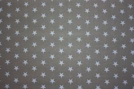 Baumwollstoff grau/weiße Sterne 1 cm