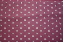 Baumwollstoff Altrosa/weiße Sterne 1 cm