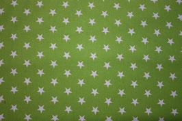 Baumwollstoff Apfelgrün/weiße Sterne 1 cm