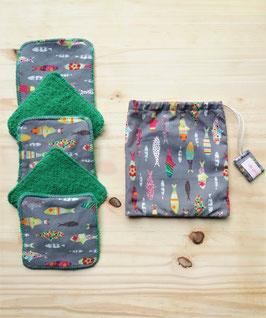 Lingettes lavables en éponge et pochon - Poissons multicolores