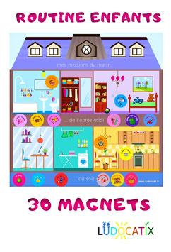 30 magnets routine enfants et tableau magnétique Maison Montessori