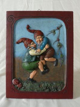 Tanzende Zwerge - Relief Wandtafel bemalt