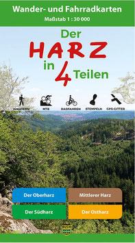 Der Harz in 4 Teilen- Wander- und Fahrradkarte