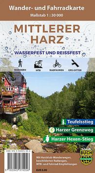 Der mittlere Harz - Wander- und Fahrradkarte (wasserfest und reißfest)