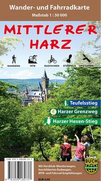 Der mittlere Harz - Wander- und Fahrradkarte