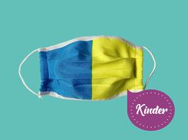KINDER, Behelfs-Mund-Nasen-Maske, blau-gelb längs