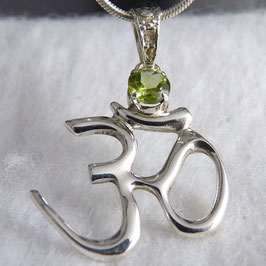 ॐ 'OM' ~ OM Silver Pendant with Peridot