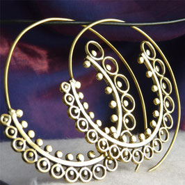 Laced Creole Coil Brass Hoops #16