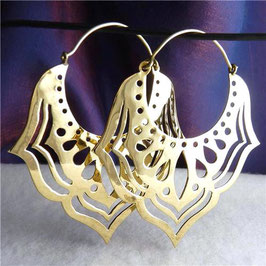 Jali Lotus Brass Creole Earrings #2