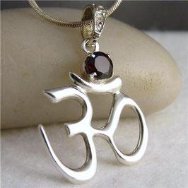 ॐ 'OM' ~ OM Silver Pendant with Garnet