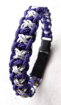 """Paracord-Katzenhalsband """"xoxo"""" violet/weiss"""