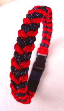 "Paracord-Katzenhalsband ""snake"" rot/schwarz"