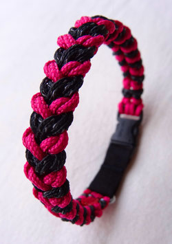"Paracord-Katzenhalsband ""snake"" pink/schwarz"