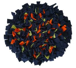 Fummelmatte/ Schnüffelteppich rund - Marine/Orange/Hellgrün