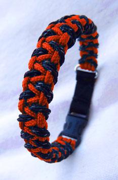 "Paracord-Katzenhalsband ""triangle"" orange/schwarz"