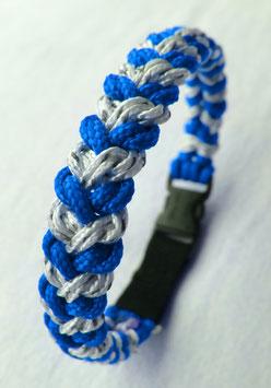 "Paracord-Katzenhalsband ""snake"" blau/weiss"