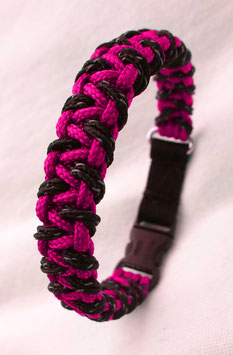"Paracord-Katzenhalsband ""triangle"" pink/schwarz"