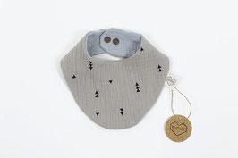 tick-tock Musselin Baby/Kleinkind Tuch braun/hellgrau- wendbar, größenverstellbar