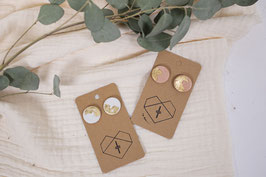 Ton Ohrringe rund Blattgold/ clay earrings circle leaf gold