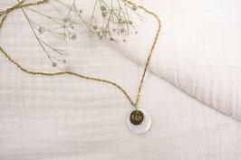 Edelstahl-Kette Gold-Perlmutt personalisiert