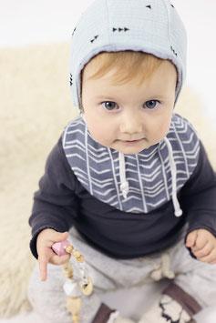 tick-tock Musselin Baby/Kleinkind Tuch grau- wendbar