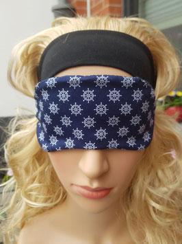 Schlafmaske zum Wenden, blau/weiß