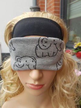 Schlafmaske zum Wenden, grau m. Elefanten