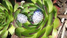 Ohrringe, silberfarben mit klaren Kristallen