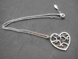 Halskette, versilbert, inkl. Herzanhänger
