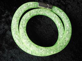 STARDUST ARMBAND, doppelt gewickelt, hellgrün, mit funkelnden Kristallen
