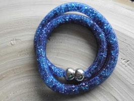 STARDUST ARMBAND, doppelt gewickelt blau mit funkelnden Kristallen