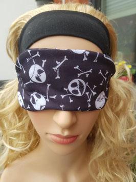 Schlafmaske zum Wenden, schwarz/weiß, Totenkopf u. Knochen lustig