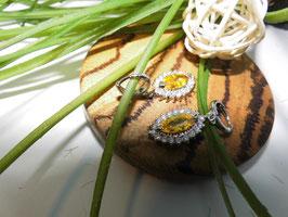 Edle Ohrhänger mit funkelndem gelben Kristall