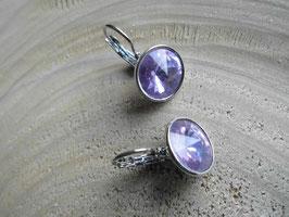 Ohrringe, silberfarben mit lavendelfarbenen Kristall
