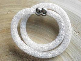 STARDUST ARMBAND, WEIß TRANSPARENT, doppelt gewickelt mit funkelnden Kristallen