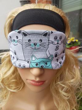 Schlafmaske zum Wenden, mit Katzen