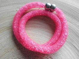 STARDUST ARMBAND pink, doppelt gewickelt mit funkelnden Kristallen