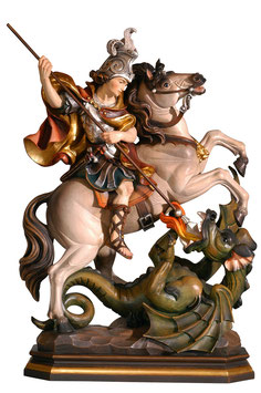 Saint George on horse woodcarving