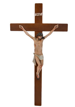 Crucifix cm. 80 x 43 with resin statue