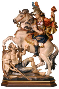 Saint Martin on horse woodcarving