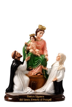 Our Lady of the Rosary resin statue cm. 25
